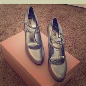 Miu Miu (Prada) Silver Mary Jane Ankle Strap Heels
